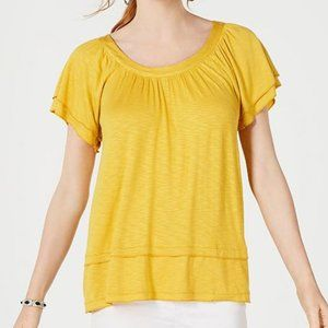 NWT Flutter Sleeve draped scoop neck Yellow Sz Sm